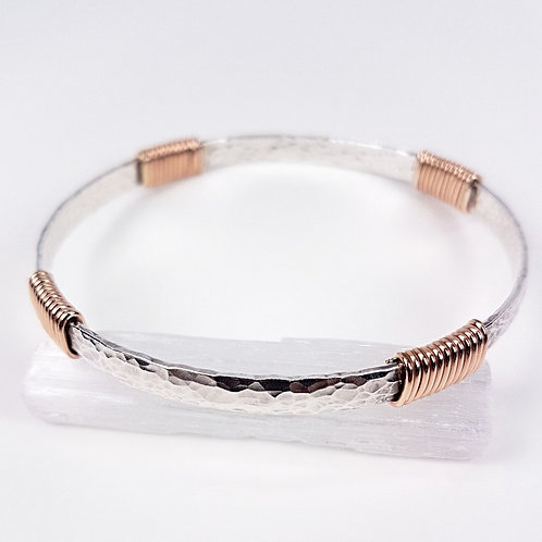 Hammered silver with gold twisted bracelet
