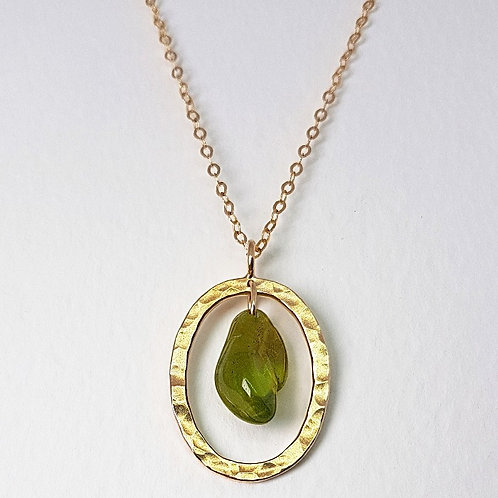 Gold pendant The Dewdrop with Peridote stone