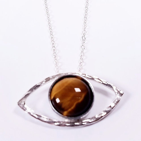 Tiger's eye in silver necklace