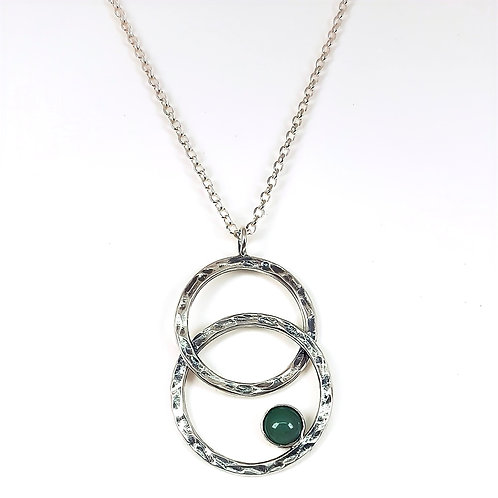 Oxidized silver pendant Two circles with Avanturine stone