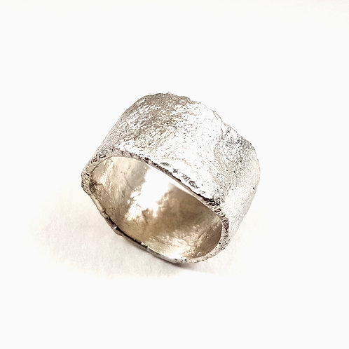 Reticulated unformed sterling silver ring