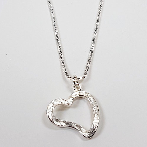 Silver engraving pendant Open heart