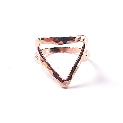 Rose gold ring Geometric form Triangle