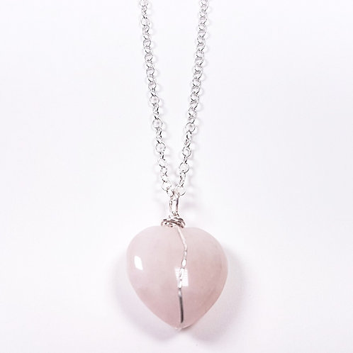 Rose Quartz heart in Silver pendant