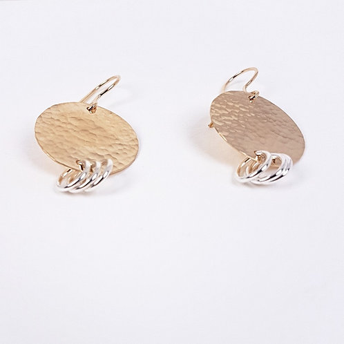 Fancy gold with silver medium earrings