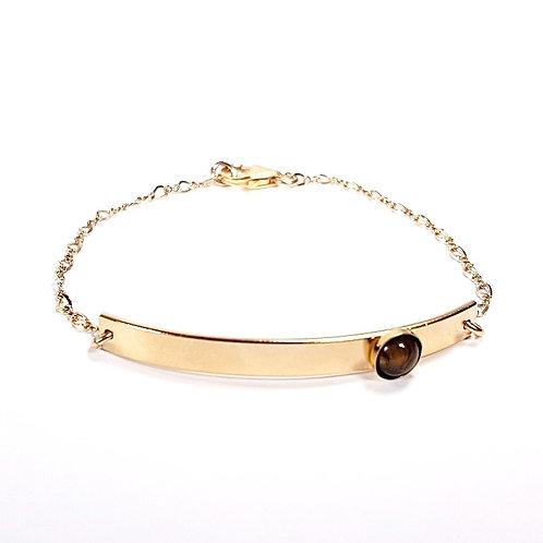 Gold bracelet with Tiger eye stone