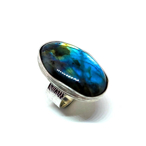 Large Silver Ring with Labradorite Stone