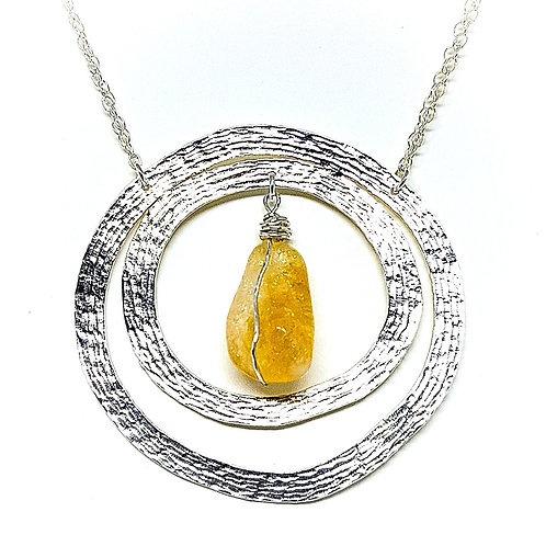 Double-sided different engraving silver necklace with Row Citrine stone