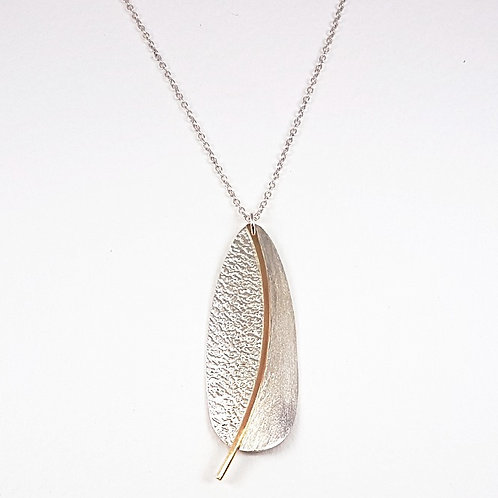 Large silver with 9k gold Drop pendant