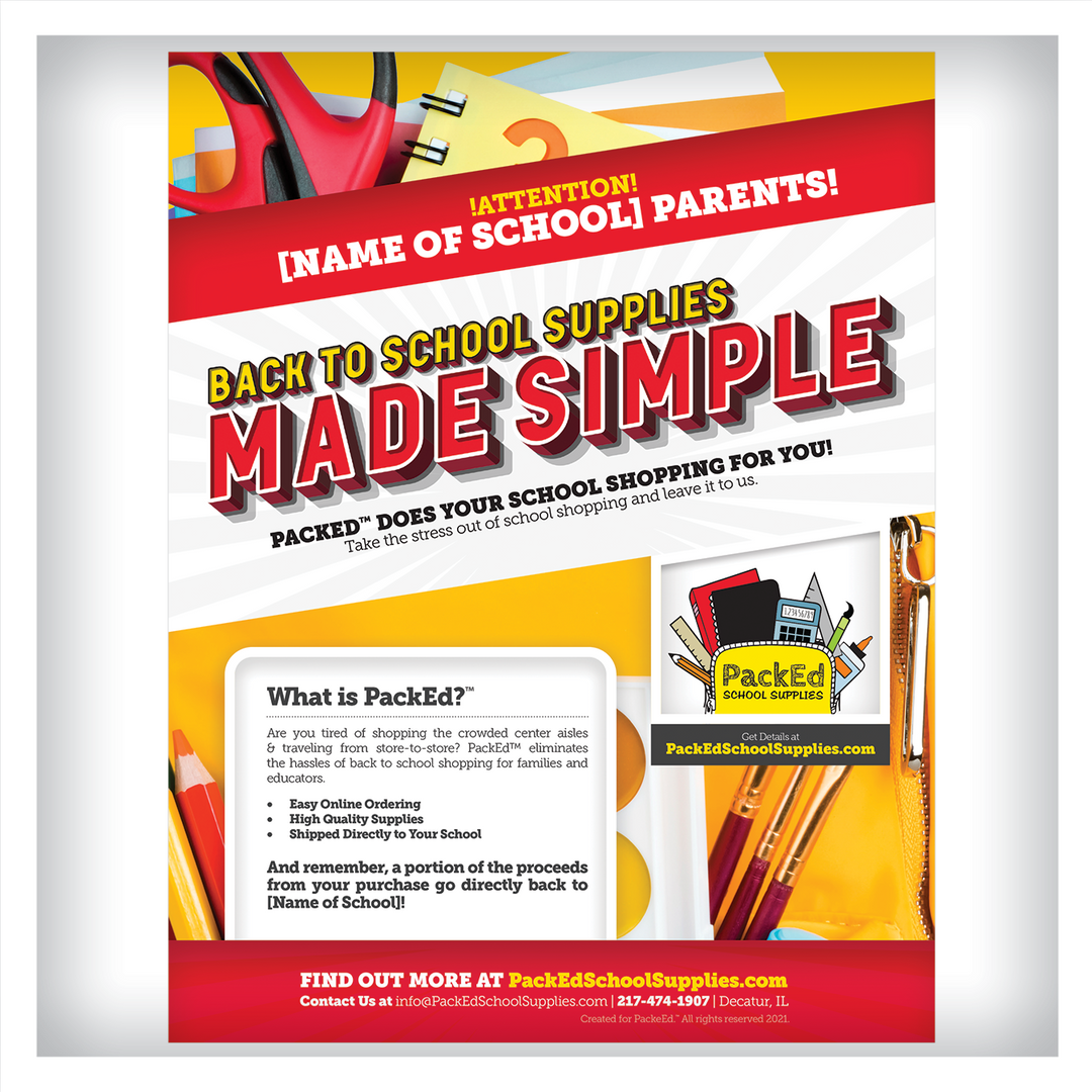 PackEd School Supplies Flyer