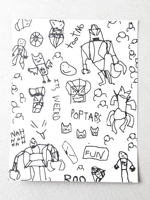 8.5 x 11 Trafford's illustrations screen print
