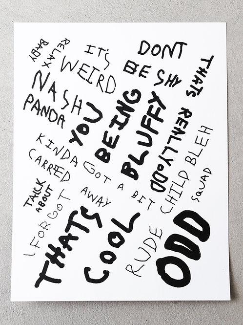 8.5 x 11 Trafford's iconic phrases screen print