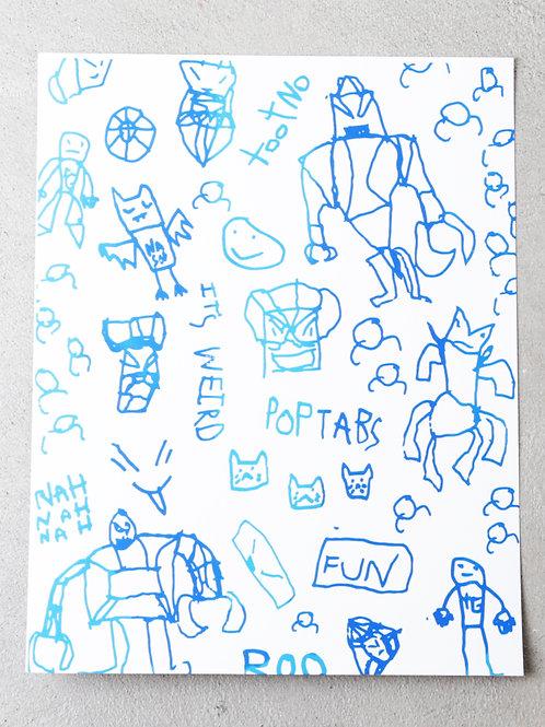 8.5 x 11 Trafford's illustrations gradient screen print