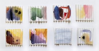 Interview with the sea, 8 cortina fold drawings, watercolor and gouache on cortina folded paper, each approx. 9.5cm X 11cm X 1cm, 2020