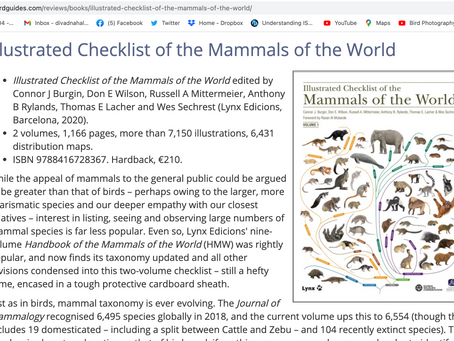 I've reviewed the definitive world mammal checklist for Birdguides.com