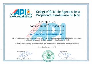 Certificado en Valoraciones Inmobiliarias