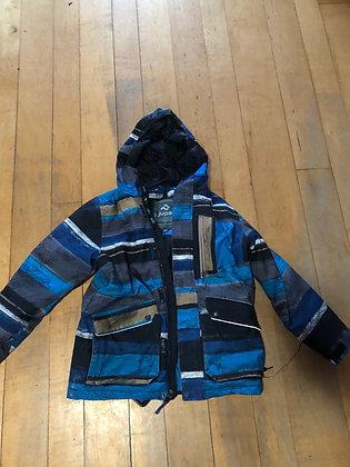 Hooded synthetic down  winter ski jacket. Kids medium size