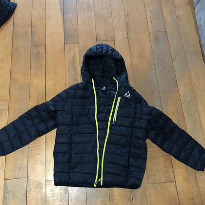 Black hooded synthetic down jacket kids size medium