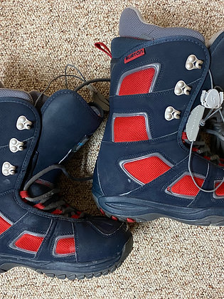 Burton Mens Freestyle snowboard boots, black & red - Size 9