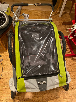 Thule chariot - 2 seater - w/ braked front wheel, bike connector, skis