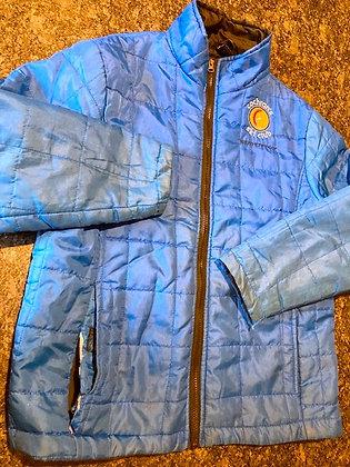 Blue micropuff kid's jacket with Cochran's logo