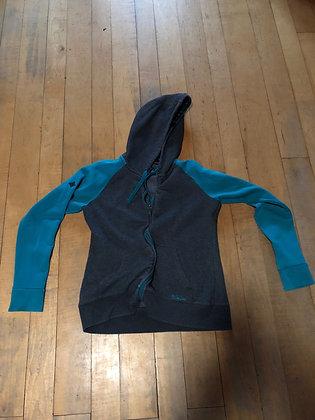 Ski The East Woman's Large Hooded Sweatshirt, Teal/Gray