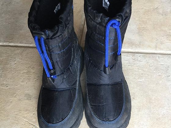 Kids snow boots, black & blue, size 2