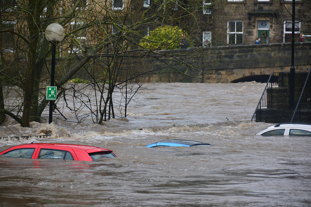 Cars submersed by floods in Bingley