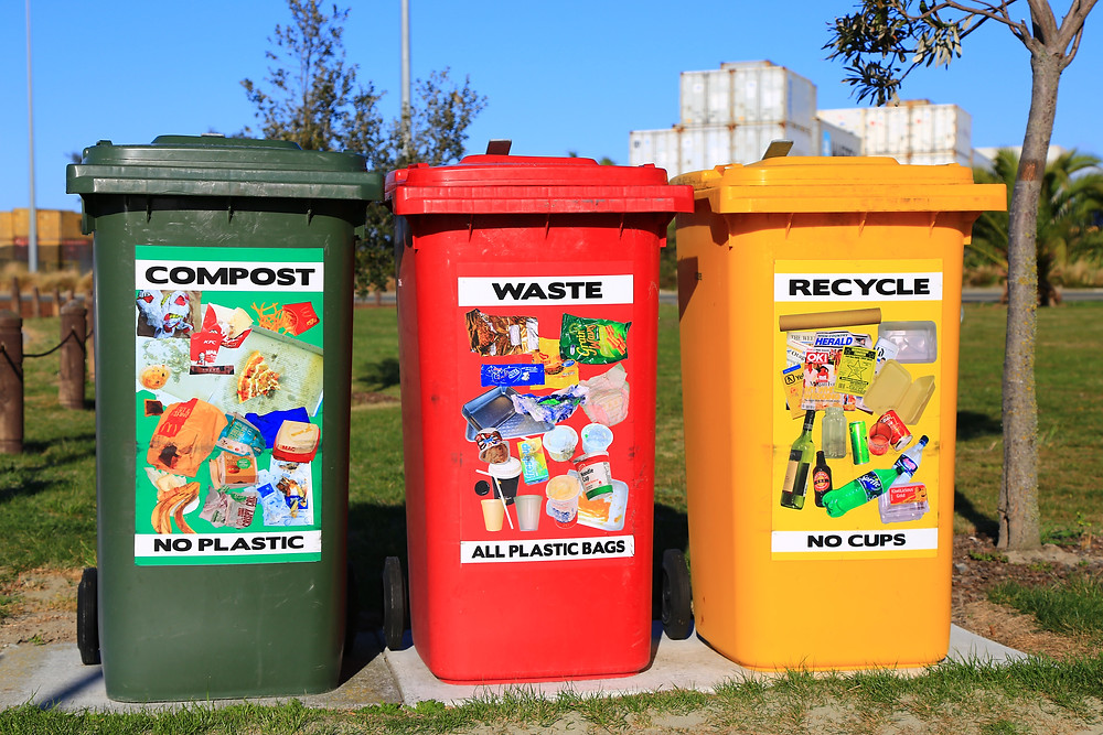 Photograph of three bins: a green compost bin, a red waste bin and yellow recycling bin. These bins are set up in a park, and there is a white building erected in the background, against a bright blue sky.