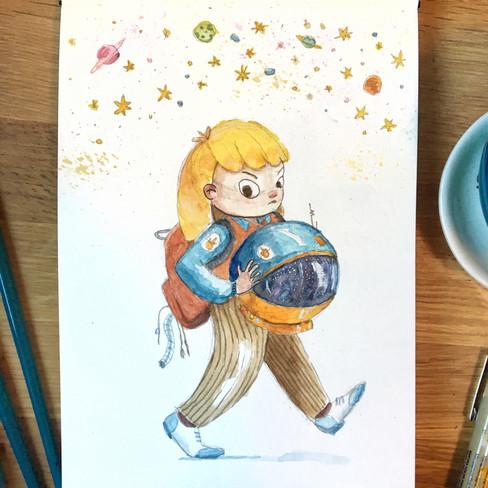 Caz in watercolor