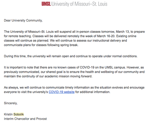 UMSL Cancels In Person Classes for Rest of Semester