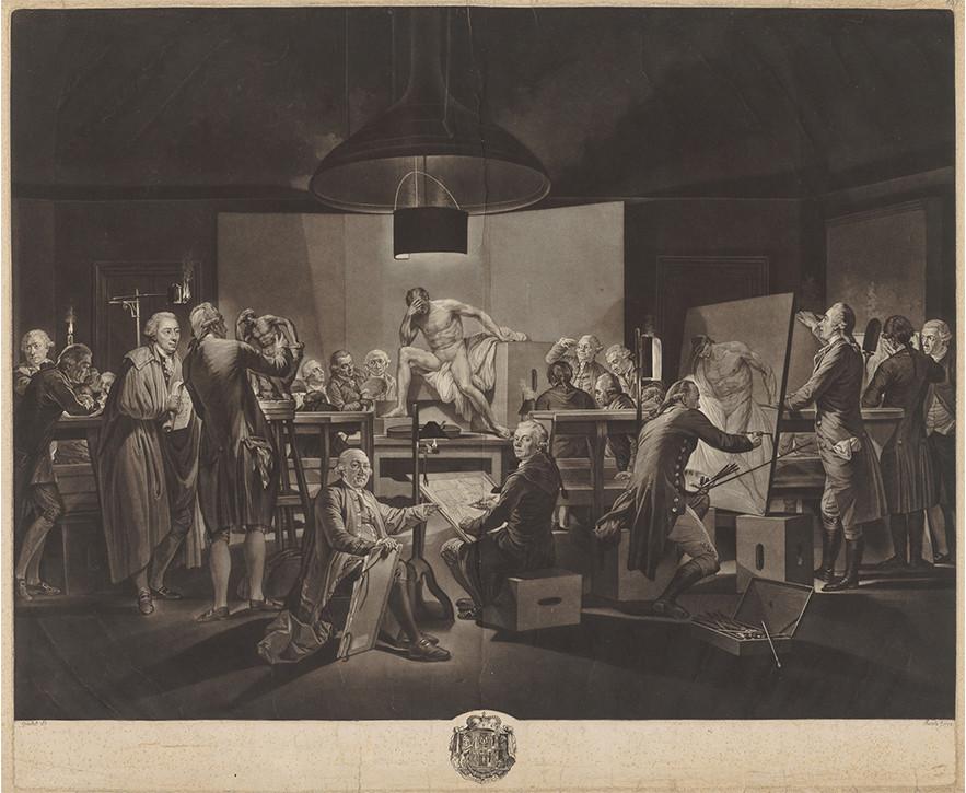 Johann Jacobé nach Martin Ferdinand Quadal, Aktsaal der Wiener Akademie, 1790, Schabkunst und Radierung. Graphische Sammlung ETH Zürich