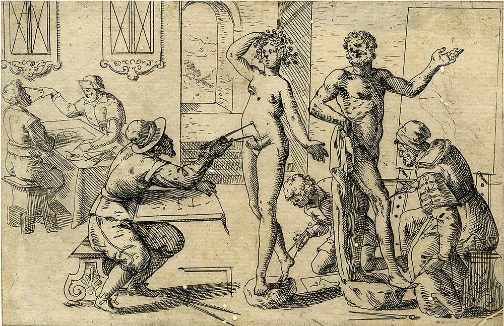 Odoardo Fialetti, Studium der menschlichen Proportionen, aus: Del Corpo Humano, hrsg. von Justus Sadeler, Venedig 1608, Radierung. Graphische Sammlung ETH Zürich