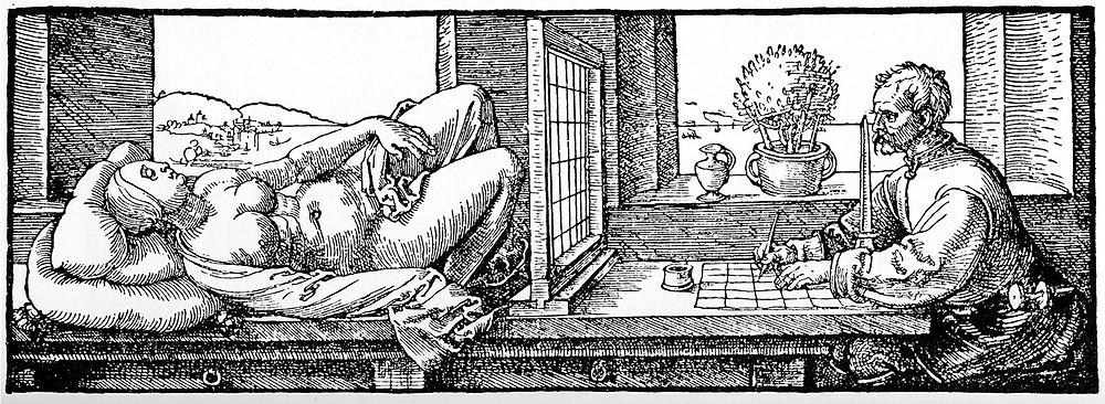 Albrecht Dürer, Der Zeichner des liegenden Weibes, 1525, aus: Underweysung der Messung, 1538, Holzschnitt. Graphische Sammlung ETH Zürich