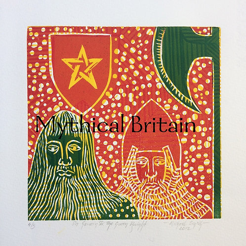 Sir Gawain and the Green Knight - Original Linocut Print