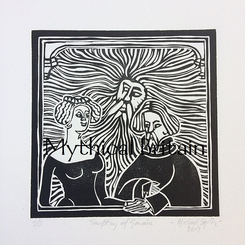 The Temptation of Gawain - Original Linocut Print