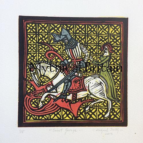 Saint George and the Dragon - Original Linocut Print