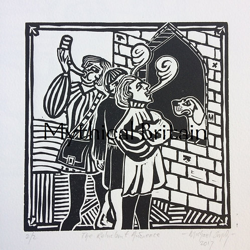 The Reluctant Audience (B/W) - Original Linocut Print