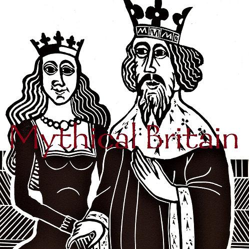 King Arthur and Guinevere - Original Linocut Print