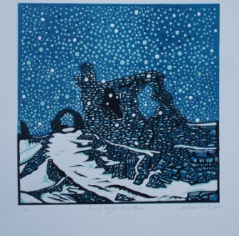 Castell Dinas Bran - a snowy linocut print