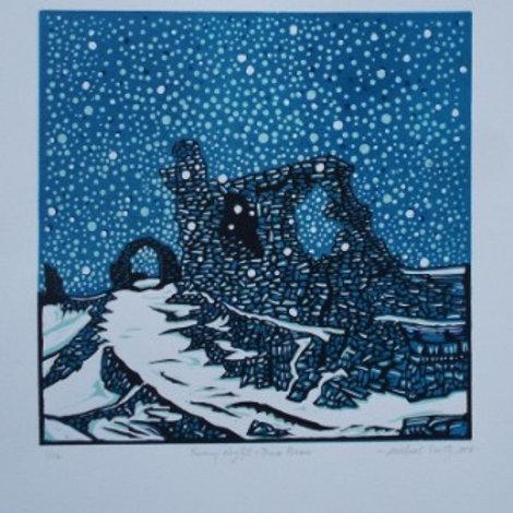 Castell Dinas Bran - Original Linocut Print