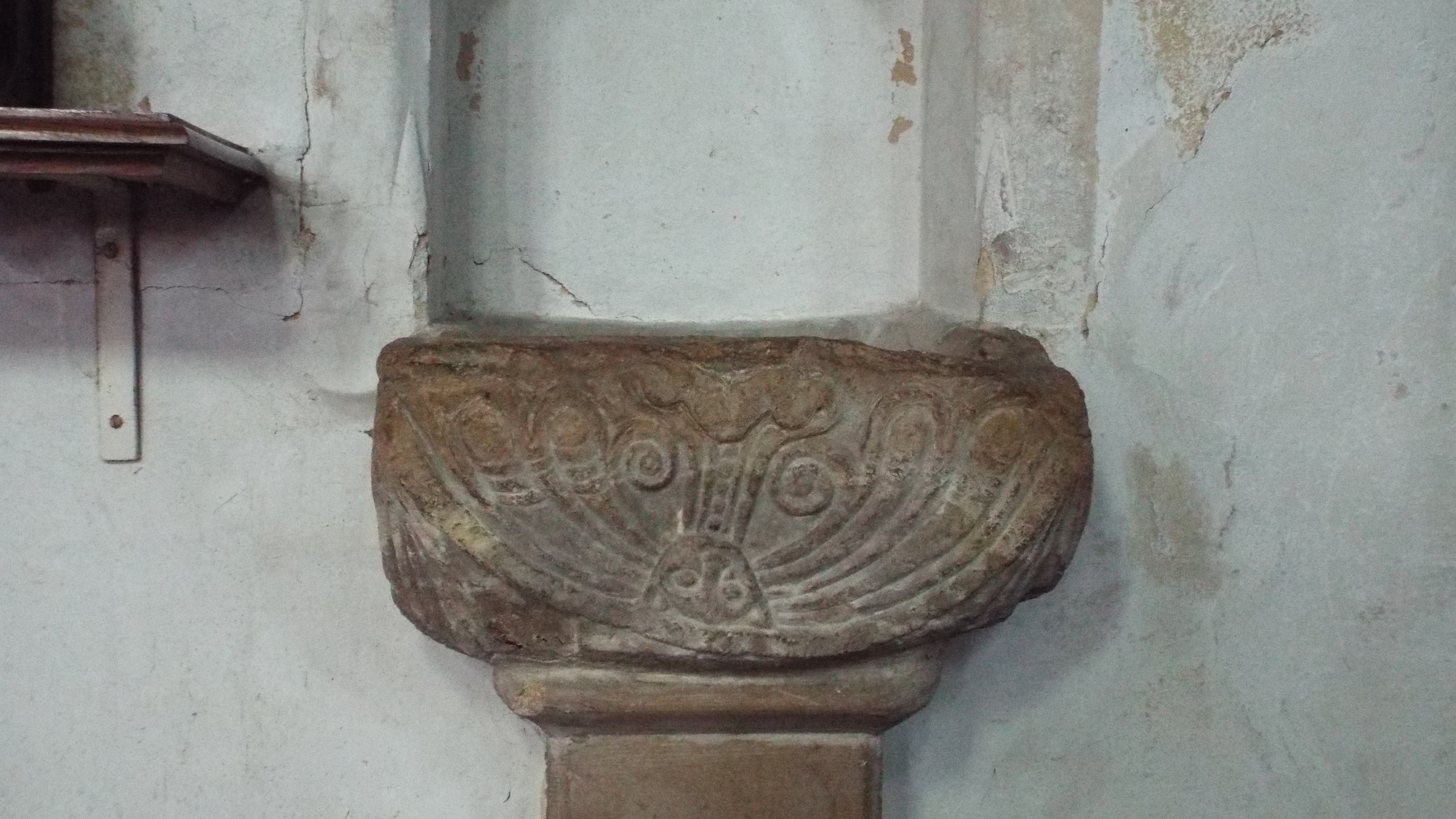Romanesque stoup at St Nicholas