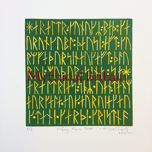 Viking Runic Text - Original Linocut Print