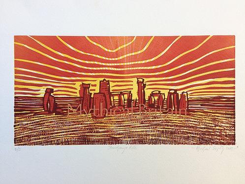 Stonehenge Red - Original Linocut Print