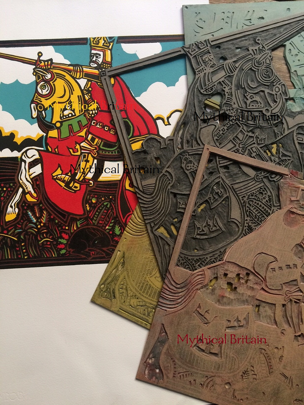 The final linocut print of King Arthur with associated lino blocks