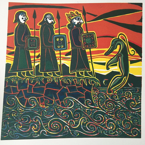 Birsay Picts at Sunset - Original Linocut Print