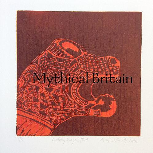 Oseberg Dragon Post (Red) - Original Linocut Print