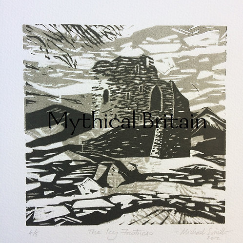 The Icy Fortress - Original Linocut Print