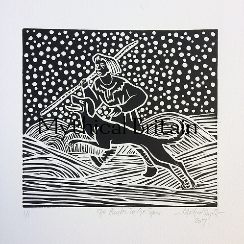 Hunter in the Snow - Original Linocut Print
