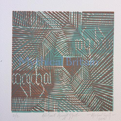 Abstract Ghost Knight - Original Linocut Print